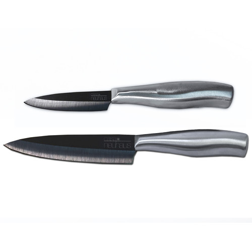 "Casa Neuhaus Utility Set 3"" Paring Knife & 5"" Utility Knife Black Blade Ceramic & Stainless Steel... by Overstock"