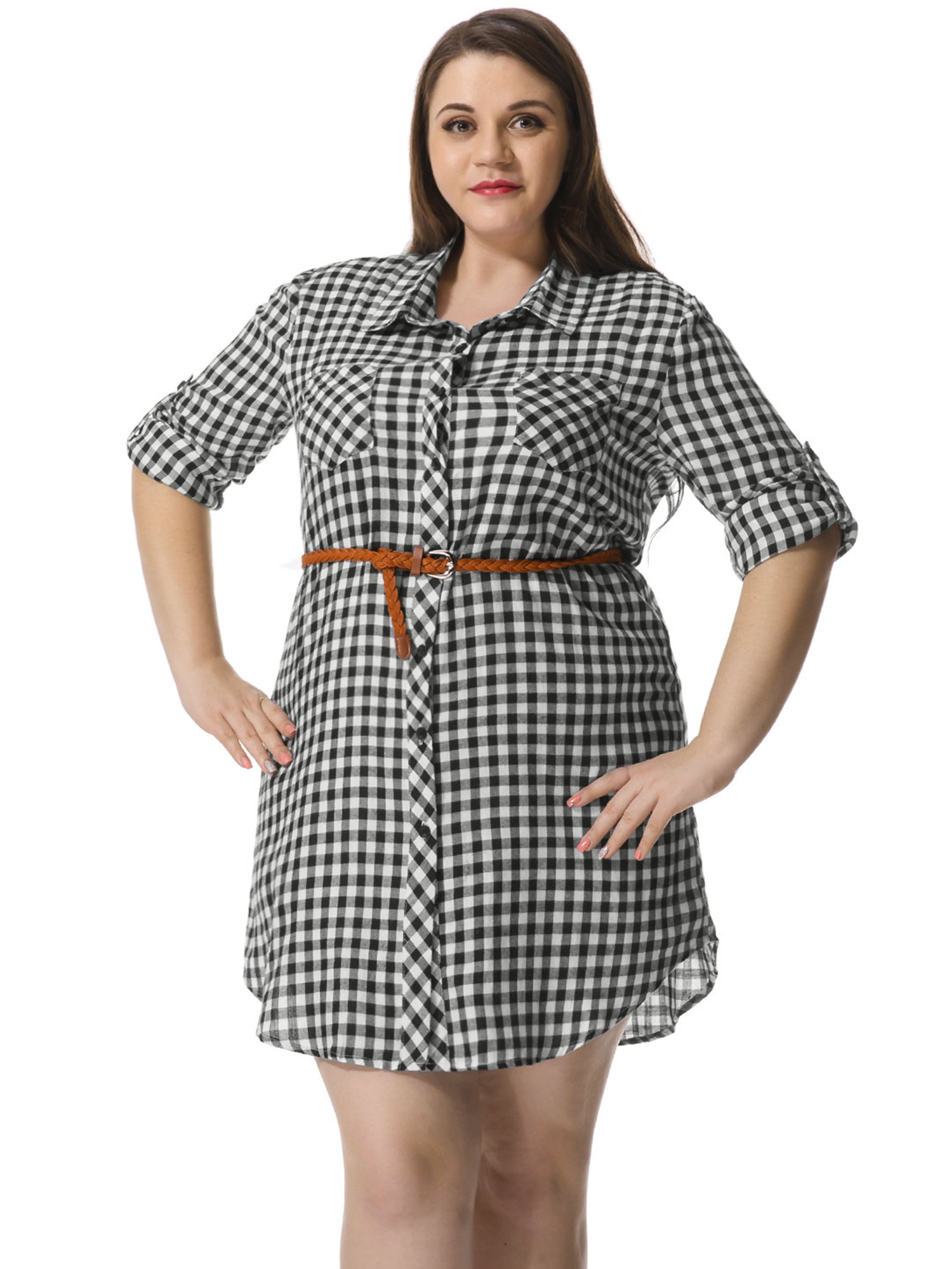 Women\'s Plus Size Roll up Sleeves Belted Plaid Shirt Dress White 3X