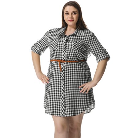 - Women's Plus Size Roll up Sleeves Belted Plaid Shirt Dress White 3X
