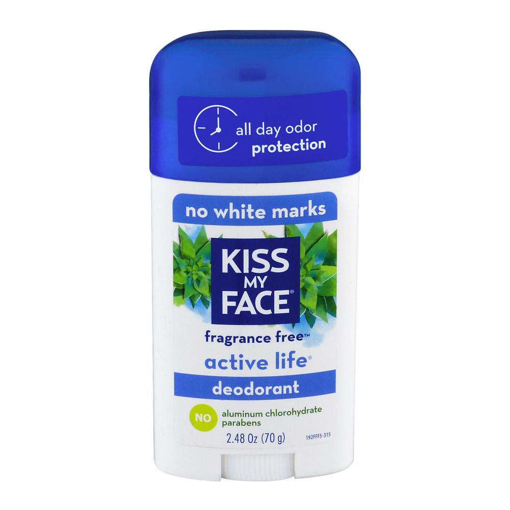 Kiss My Face Fragrance Free Active Life Deodorant, 2.48 OZ
