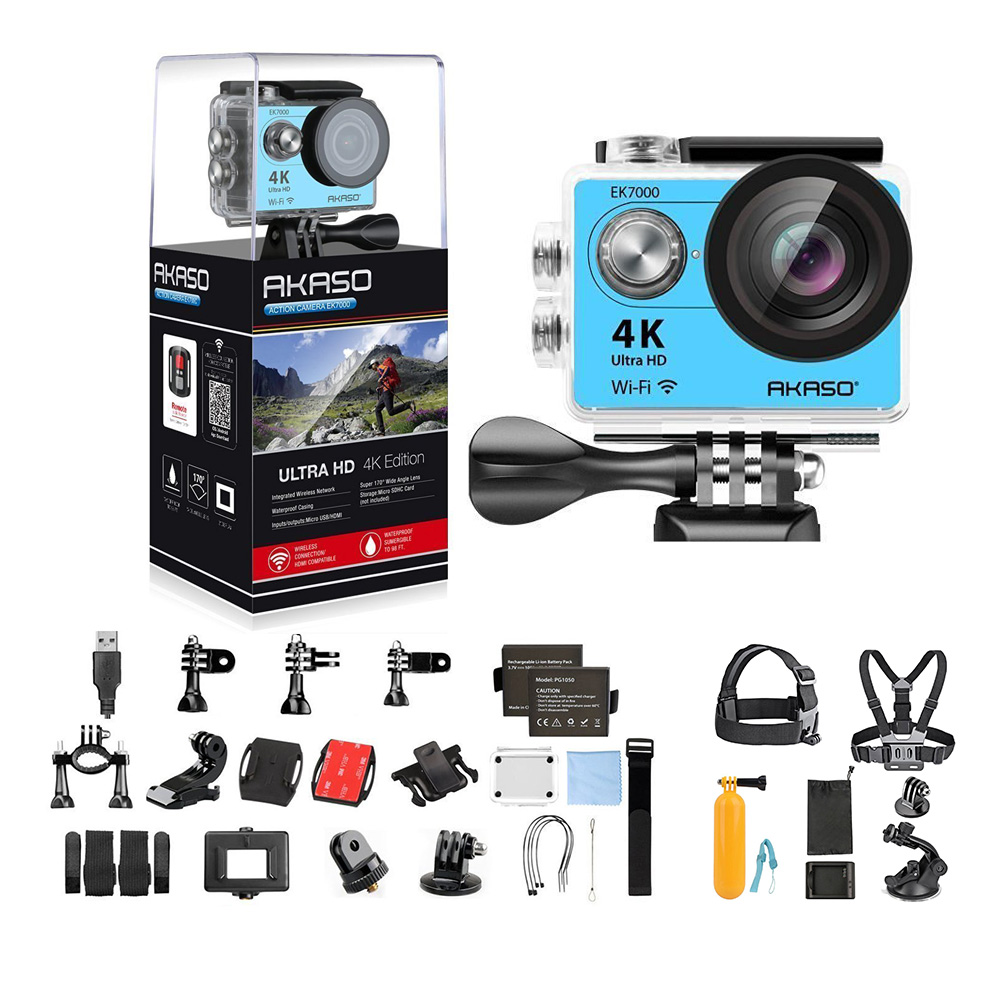 AKASO EK7000 Ultra HD 4K WIFI 170 Degree Wide Waterproof Sports Action DV Camcorder Blue (EK7000) with 7 in 1 Camera Accessories & 1 Year Extended Warranty-Blue