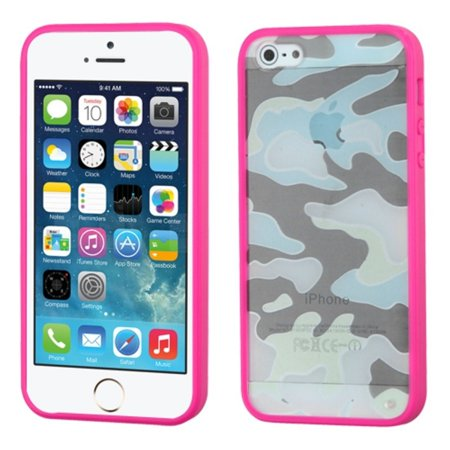 Insten Glassy Camo Hot Pink TPU Gummy Gel Skin Case Cover For APPLE iPhone SE 5 iPhone SE 5S 5 New (Pink Gel Iphone 5 Case)
