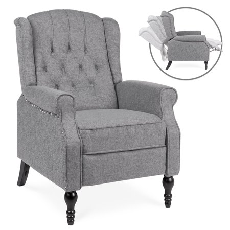 Sport Reclining Front Seat - Best Choice Products Tufted Upholstered Wingback Push Back Recliner Armchair for Living Room, Bedroom, Home Theater Seating w/ Padded Seat and Backrest, Nailhead Trim, Wooden Legs - Charcoal
