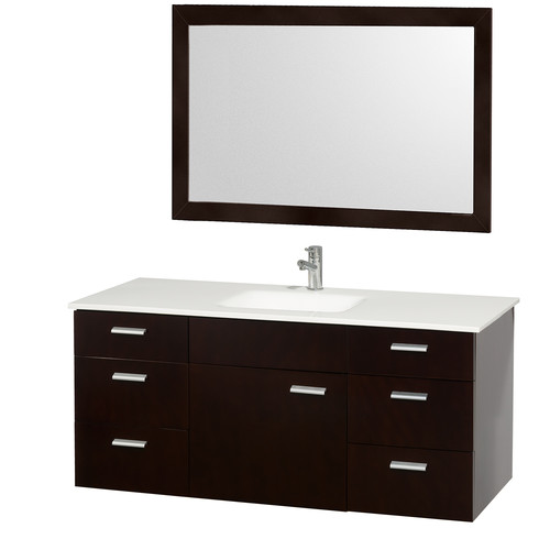 Wyndham Collection Encore 52 inch Single Bathroom Vanity in Espresso, White Carrera Marble Countertop, White Porcelain Undermount Square Sink, and 46 inch Mirror