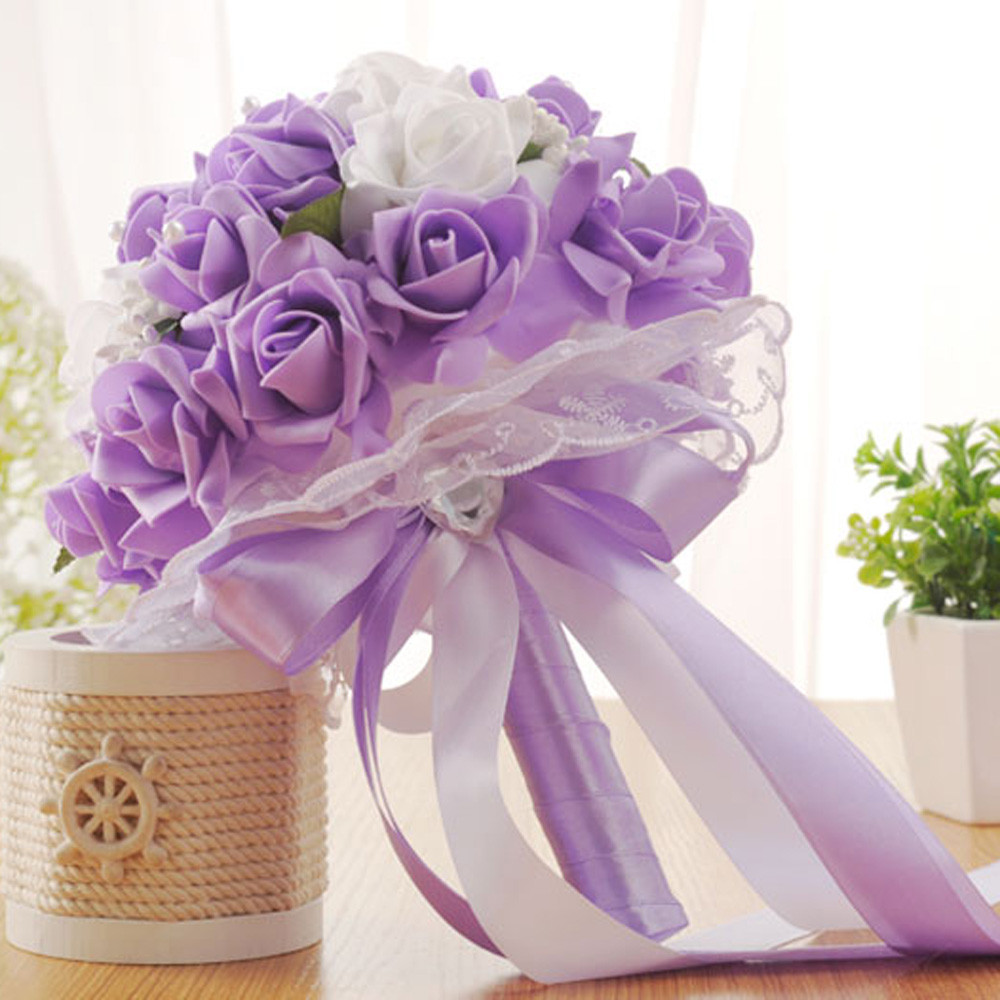Wedding Gifts At Walmart: Crystal Roses Bridesmaid Wedding Bouquet Bridal Artificial