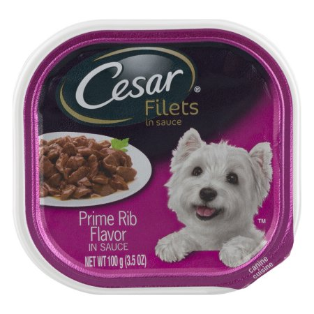 (11 Pack) CESAR GOURMET FILETS Wet Dog Food Prime Rib Flavor, 3.5 oz. Tray