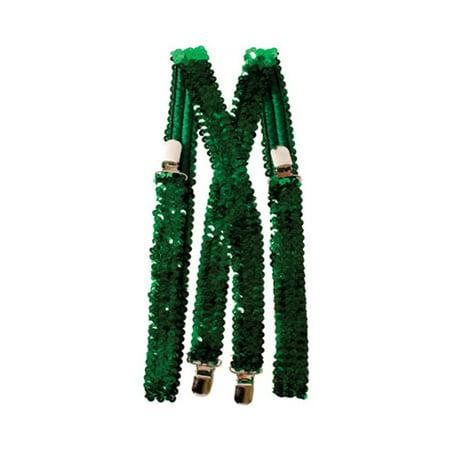 Green Sequined Suspenders - Red Sequin Suspenders