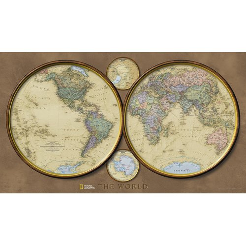 National Geographic Maps World Hemispheres Wall Map