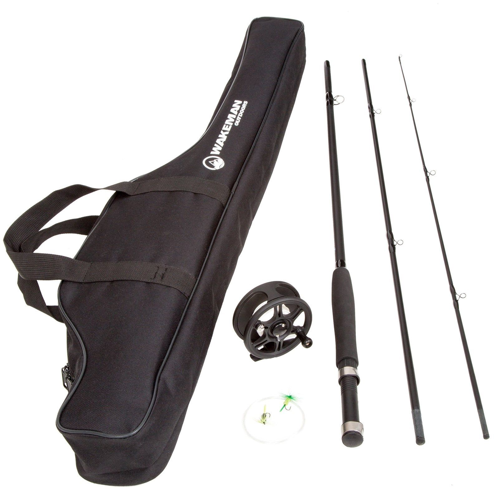 Wakeman 3 Piece 8 Feet Long Fly Rod and Reel with Carryin...