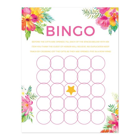 Tropical Floral Garden Party Baby Shower, Baby Bingo Game Cards, 20-Pack, Games Activities and Decorations](Halloween Party Games Activities)