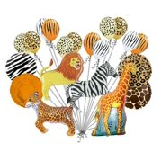 Giraffe Zebra Tiger Lion Zoo Safari Jungle Happy Birthday Balloon Bouquet Set