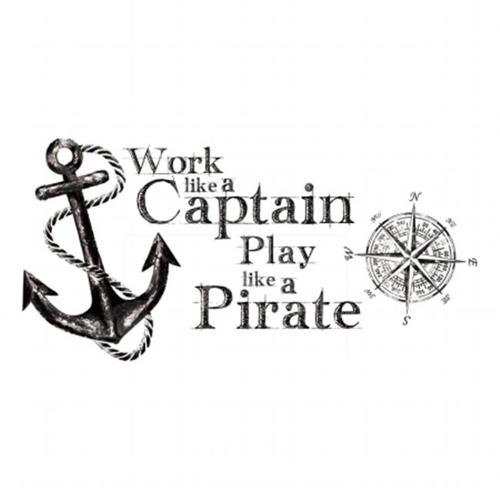 Roommates RMK2320GM Work Like a Captain Quote Peel and Stick Wall Decals