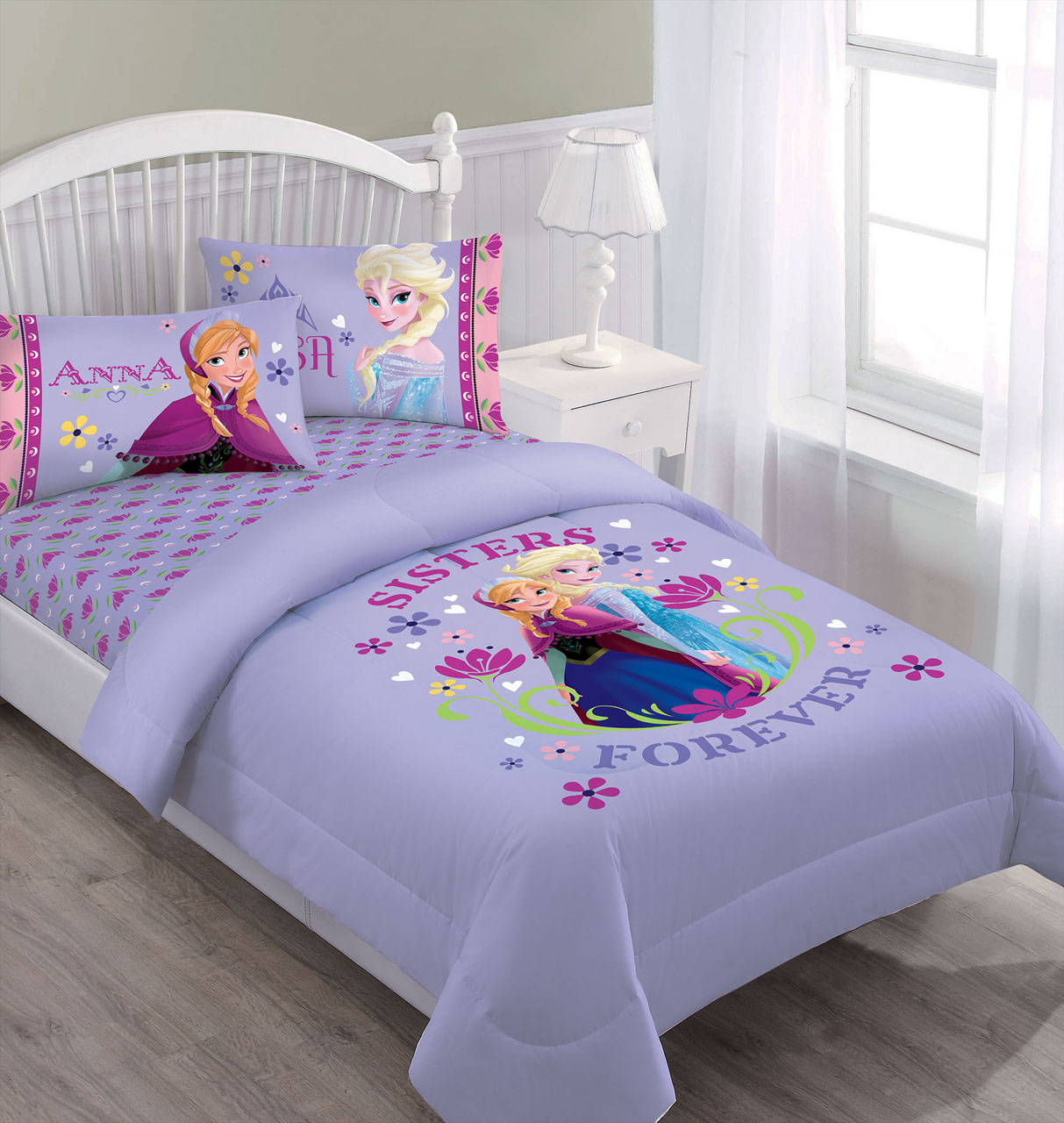 Marvelous Disney Frozen Nordic Summer Florals Full Comforter Set With Fitted Sheet    Walmart.com