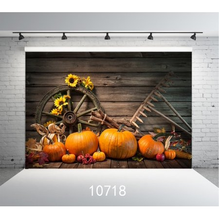 GreenDecor Polyster Halloween Backdrop 7x5ft Autumn Pumpkin Backdrop Children photography Background studio Props](Halloween Pumpkin Background)