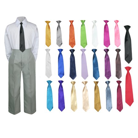 3PC Shirt Gray Pants Nectie Set Baby Boy Toddler Kid Formal Suit Sm-7