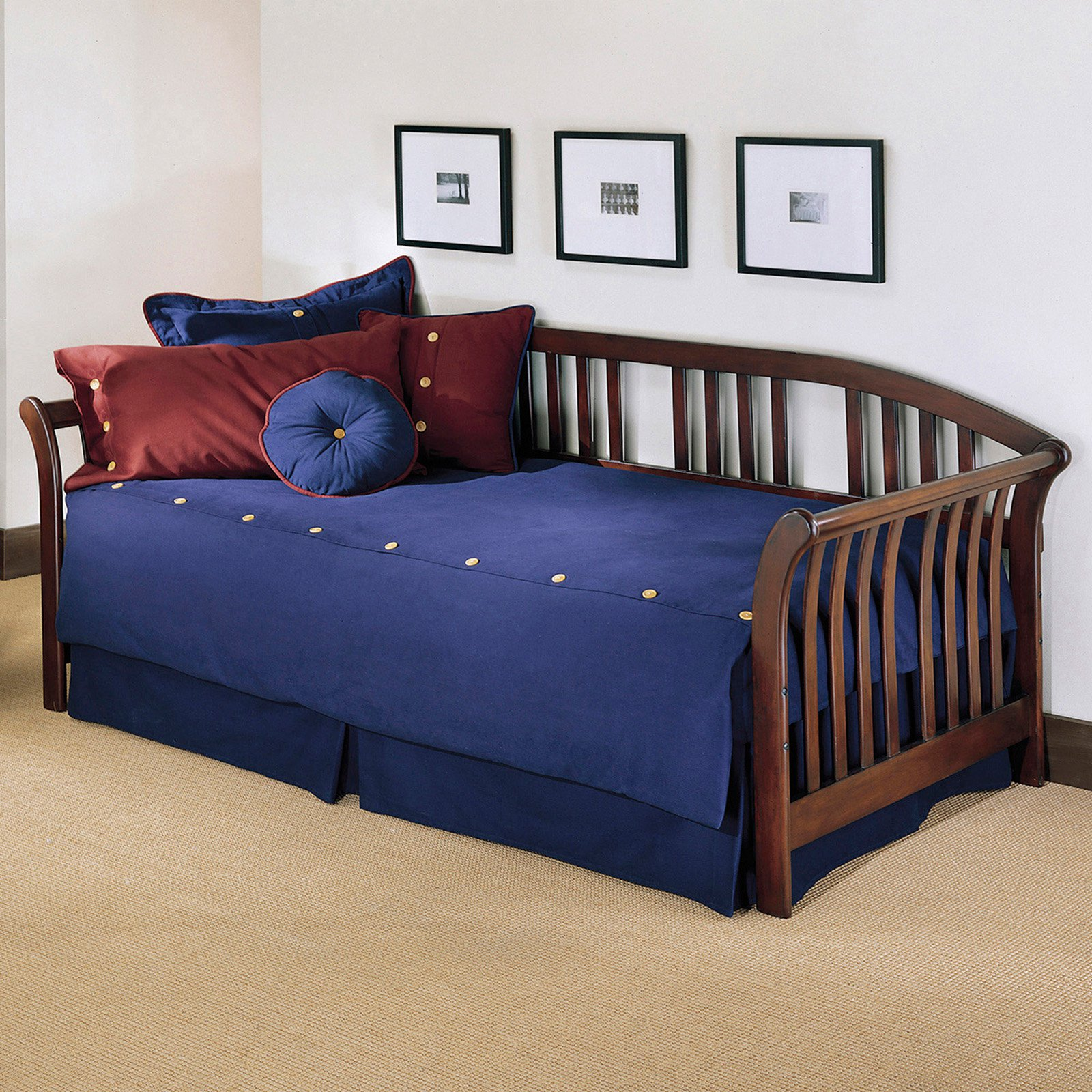 Salem Complete Wood Daybed with Euro Top Spring Support Frame and Sleigh-Style Arms, Mahogany Finish, Twin