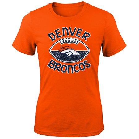 Girls Youth Orange Denver Broncos Glitter - Custom Denver Broncos Jersey