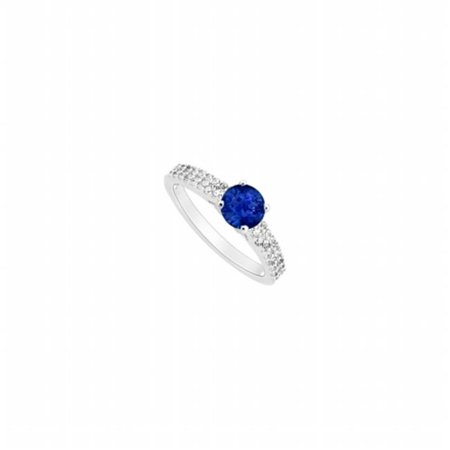 Sapphire & Diamond Engagement Ring 14K White Gold, 0.75 CT - Size 10