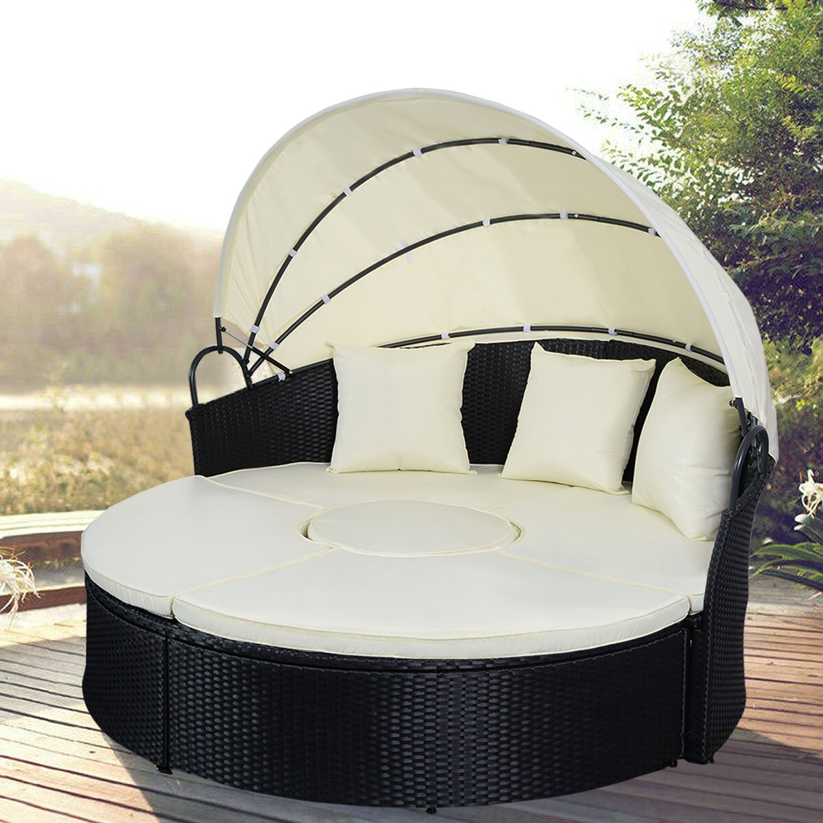 Gymax Rattan Wicker Round Retractable Canopy Daybed Sofa Furniture Set Outdoor Patio