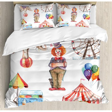 - Circus Duvet Cover Set, Circus Elements with Clown Elephant Balloons Ice Cream Cart Watercolor Illustration, Decorative Bedding Set with Pillow Shams, Multicolor, by Ambesonne
