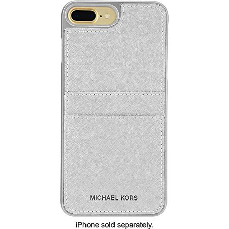 Michael Kors Saffiano Leather Pocket Case for iPhone 8 Plus & iPhone 7 Plus, Silver