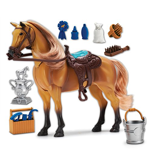 Blue Ribbon Champions Deluxe Toy Horses: Quarter Horse with Articulation, Sound and Grooming Accessories