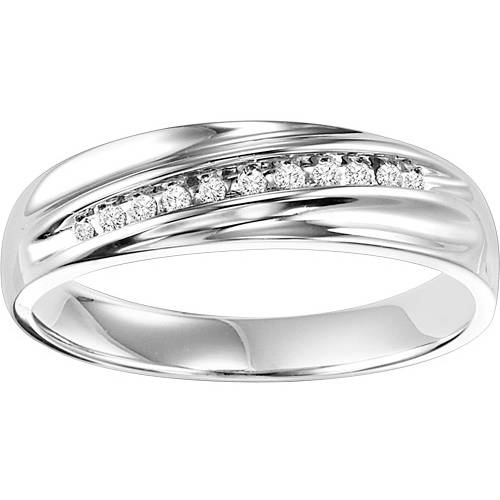 Forever Bride 1/10 Carat T.W. Sterling Silver Men's Comfort Feel Diamond Ring