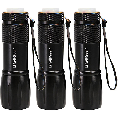 Life Gear Mini Max LED Flashlight with Red Tail Emergency Flasher, Black, 3pk