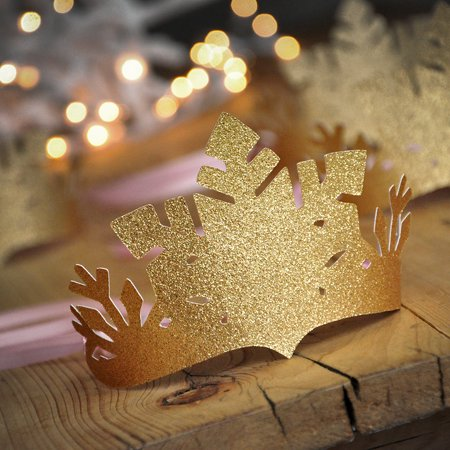 Pink and Gold Winter Wonderland Party Favor Crowns. Pink and Gold Snowflake Crowns. Winter Onederland Decoration.