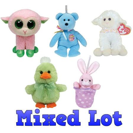 TY Basket Beanie Babies - Bulk Mixed Lot of 5 Easter Beanies (No Duplicates) ()