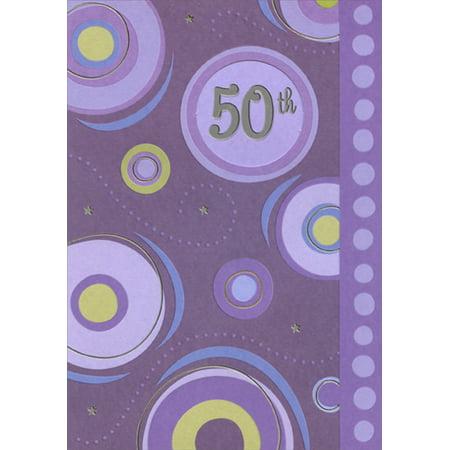 Designer Greetings 50th Inside Die Cut Circular Window on Purple Age 50 / 50th Birthday
