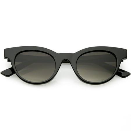 Women's Horn Rimmed Cat Eye Sunglasses Neutral Colored Round Lens Cat Eye Sunglasses 47mm (Shiny Black / -
