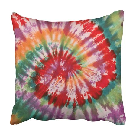 CMFUN Spiral Colorful Psychedelic Tie Dye Design Swirl Pattern 1970S 60S Abstract Ashbury Pillowcase 16x16 inch (60s Tie)