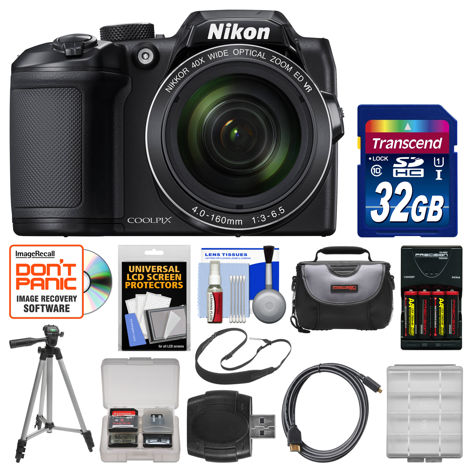 Nikon Coolpix B500 Wi-Fi Digital Camera (Black) with 32GB Card + Case + Batteries & Charger + Tripod + Sling Strap + Kit