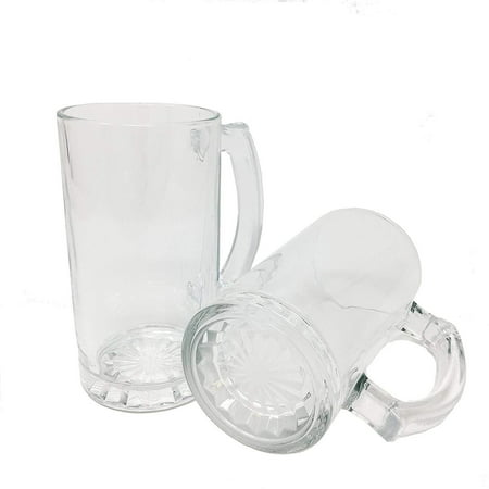 All Purpose Durable Large 16 oz.Heavy Duty Solid Pub Bar Glass Beer Mug with Starburst Thick Bottom Design (12) - Heavy Bottom Design