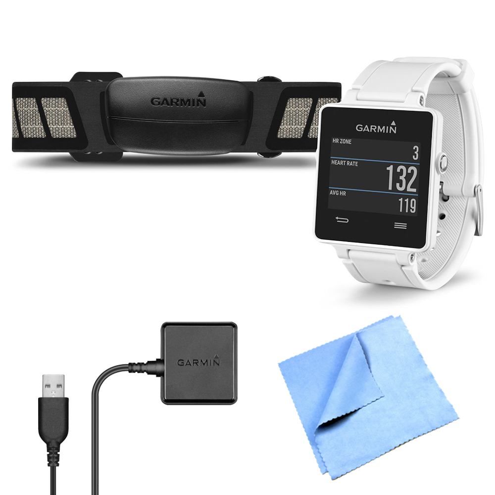 Garmin Vivoactive GPS Smartwatch White with Heart Rate Monitor Charging Clip Bundle includes White Vivoactive GPS Smartwatch, Heart Rate Monitor, Charging Clip and Micro Fiber Cloth