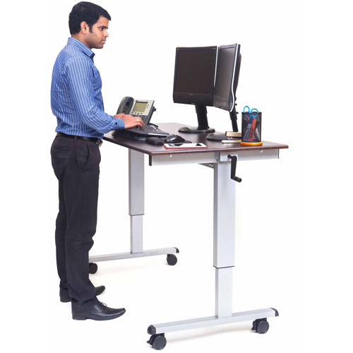 "Luxor 59""W Crank Adjustable Stand Up Desk, Dark Walnut"