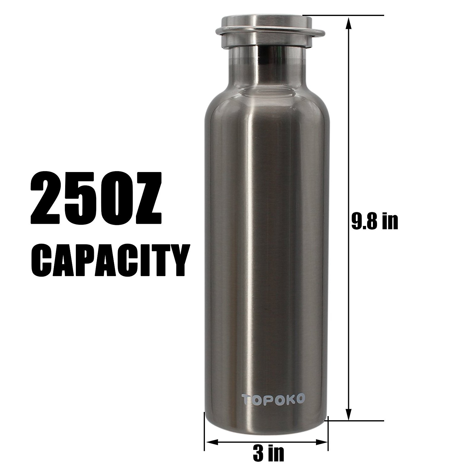 Silver TOPOKO 25 OZ Cola Style Double Wall Stainless Steel Water Bottle Vacuum Insulated Bottle Leak Proof Bottle,BPA Free with Handle