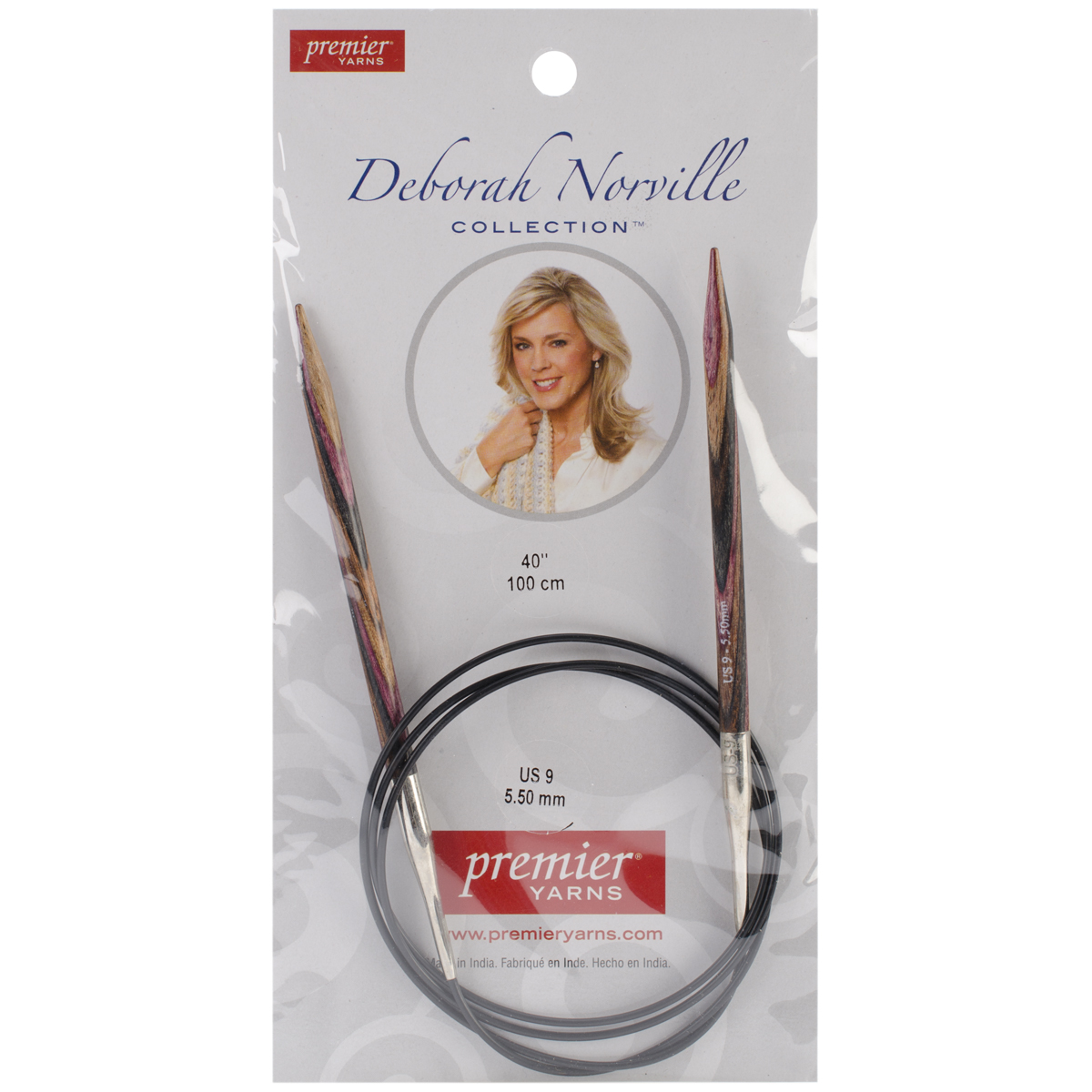 Premier Yarns Deborah Norville Fixed Circular Needles, 40-Inch, 9/5.5mm Multi-Colored
