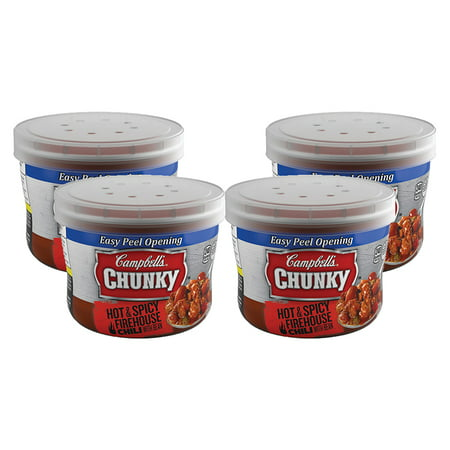 (4 Pack) Campbell's Chunky Hot & Spicy Chili with Beans Microwavable Bowl, 15.25 oz.