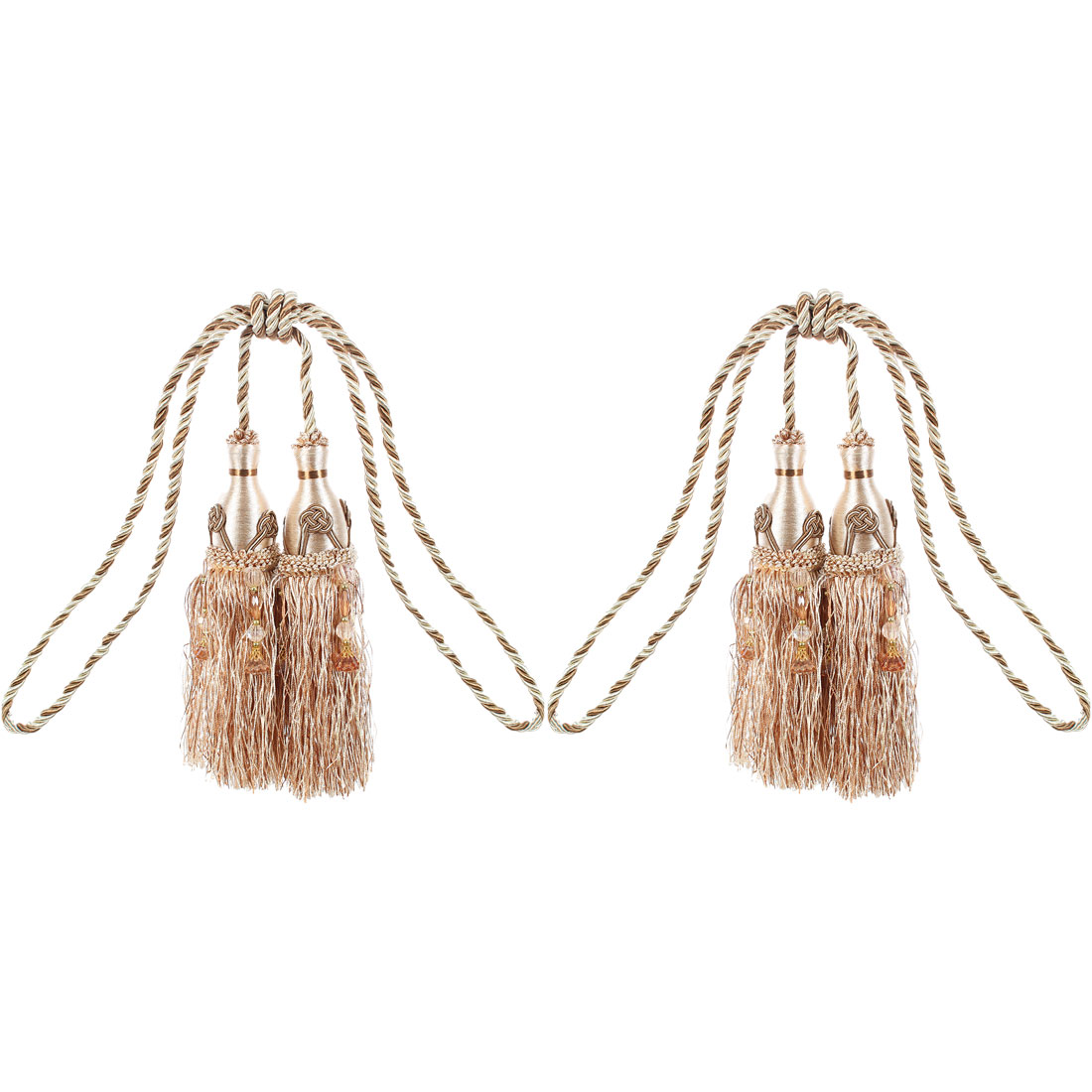 Set of 2 Double Corded Tassel Tiebacks for Curtains or Tapestries in 4 Colours