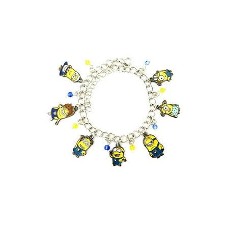 Despicable Me Minions Silver Tone Cartoon Comic Logo Charm Bracelet w/Gift Box by - Minions Gift