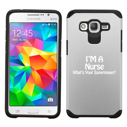 For Samsung Galaxy Core Prime Shockproof Impact Hard Soft Case Cover Nurse Superpower (Silver)