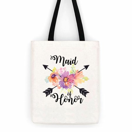 Wedding Totes (Maid Of Honor Floral Wedding Cotton Canvas Tote Bag School Day Trip)