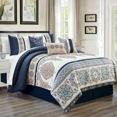 Unique Home Kosta 7 Piece Comforter Set Beige Floral Medallion Bed In a Bag Clearance Bedding Comforter Duvet, Fade Resistance, Super Soft (King, Blue/White) (Bed In A Bag Blue And White)