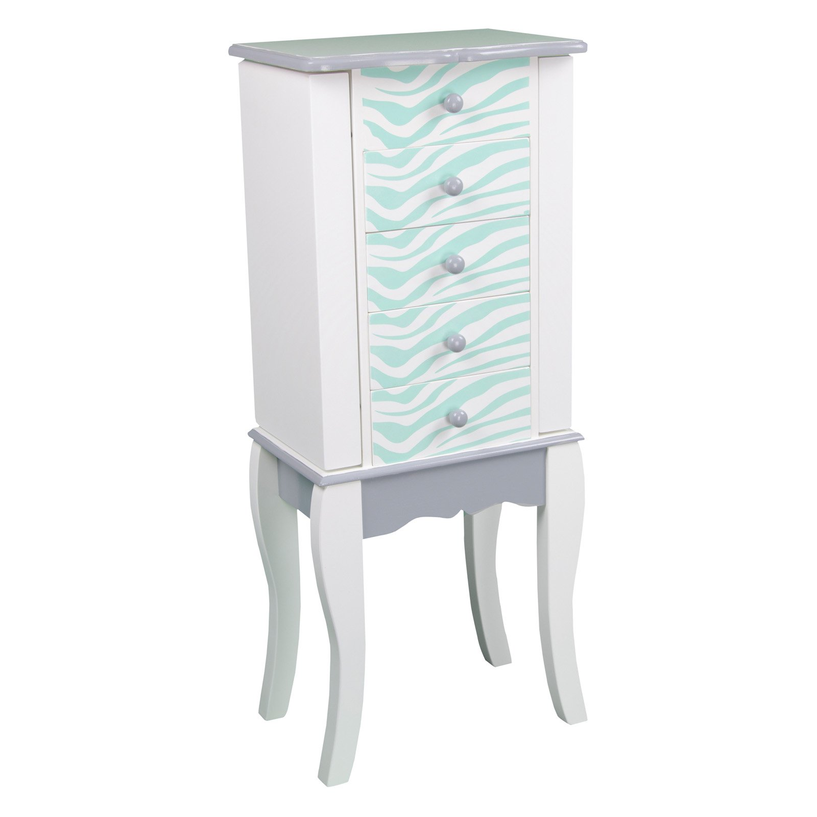 Teamson Kids Fashion Prints Jewelry Armoire Zebra (Aqua Blue   White) by Teamson Design Corporation