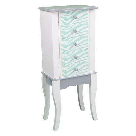 Teamson Kids - Fashion Prints Jewelry Armoire - Zebra (Aqua Blue / White)