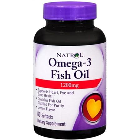 Natrol omega 3 fish oil 1200 mg softgels 60 soft gels for Omega 3 fish oil walmart