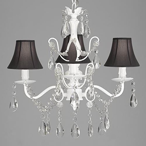 "Wrought Iron and Crystal 4 Light White Chandelier H 14"" X W 15"" Pendant Fixture Lighting Hardwire and Plug In with Shades"