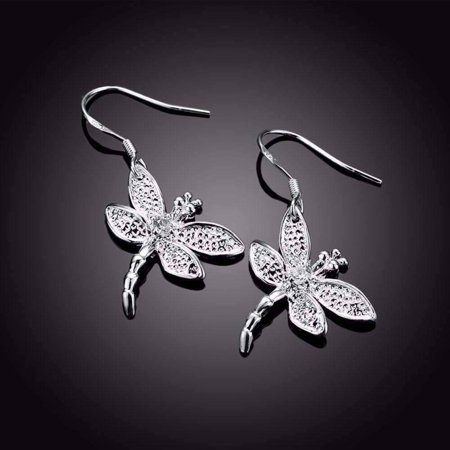 ON SALE - Sterling Silver Dragonfly Dangle Earrings Silver